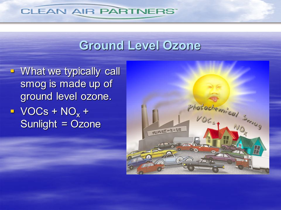 What we typically call smog is made up of ground level ozone. What we typically call smog is made up of ground level ozone. VOCs + NO x + Sunlight = O