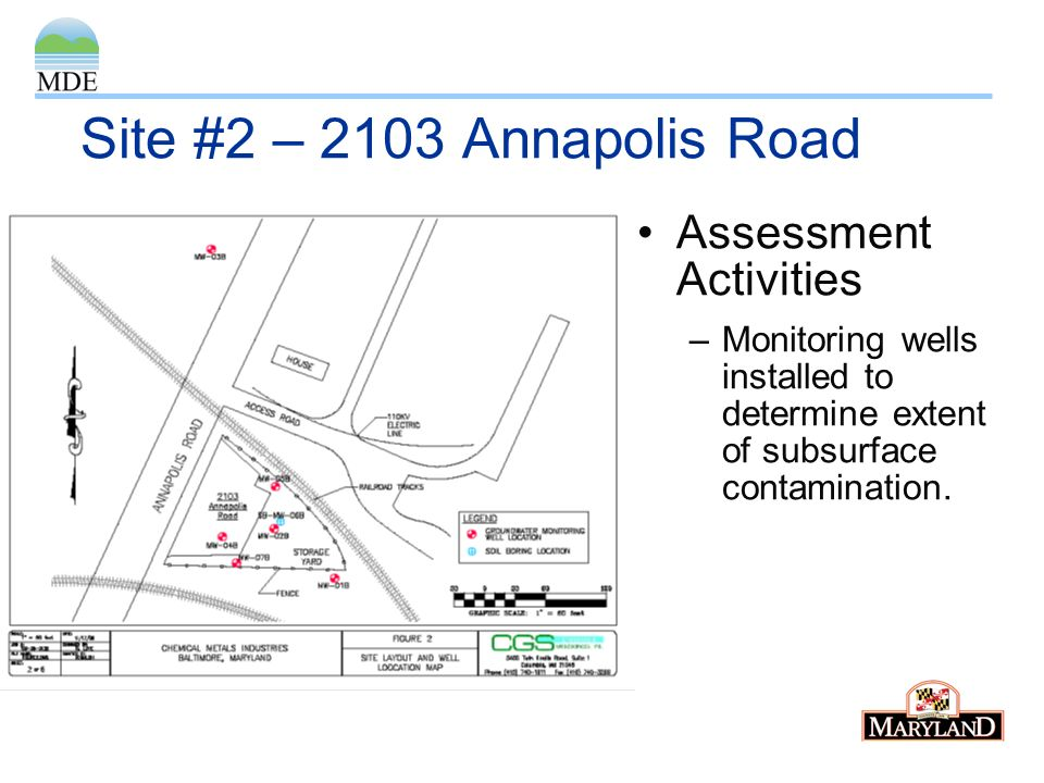 Site #2 – 2103 Annapolis Road Assessment Activities –Monitoring wells installed to determine extent of subsurface contamination.