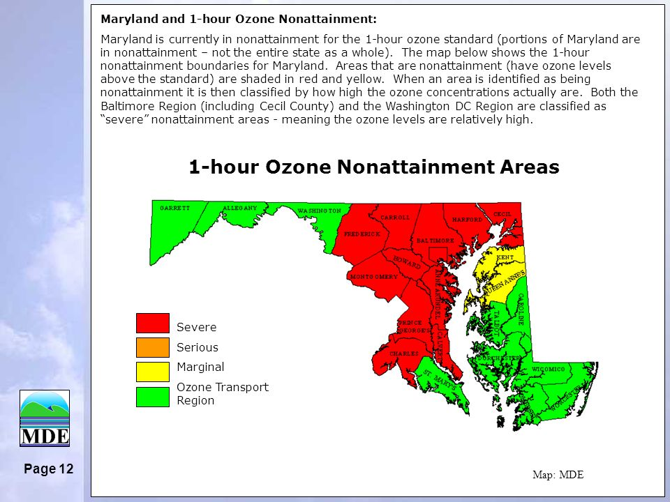 Page 12 Severe Serious Marginal Ozone Transport Region Maryland and 1-hour Ozone Nonattainment: Maryland is currently in nonattainment for the 1-hour ozone standard (portions of Maryland are in nonattainment – not the entire state as a whole).