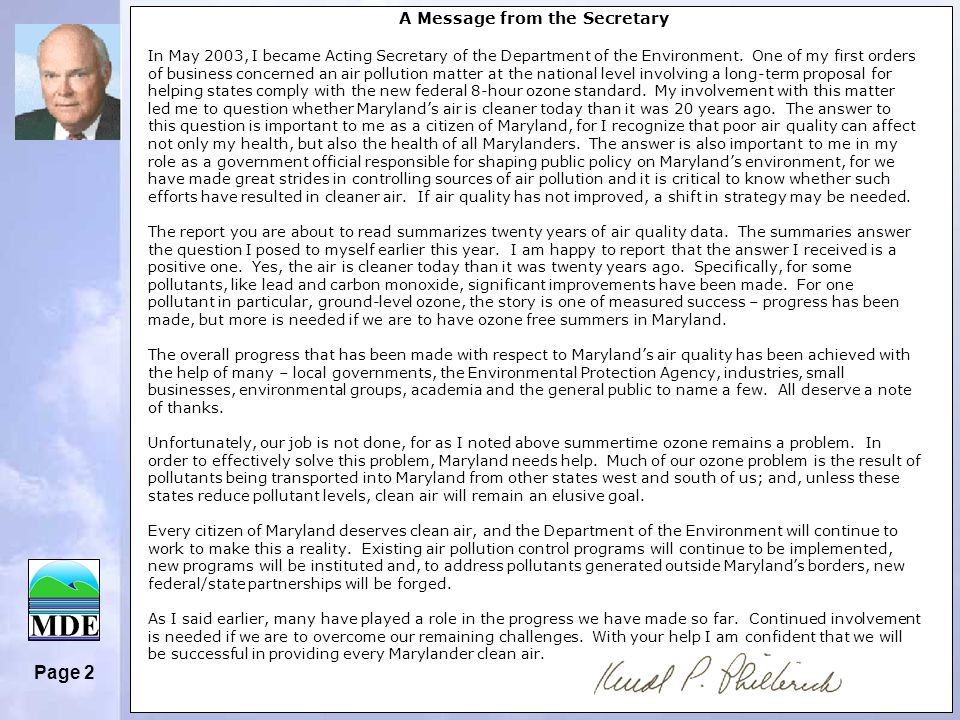 Page 2 A Message from the Secretary In May 2003, I became Acting Secretary of the Department of the Environment.