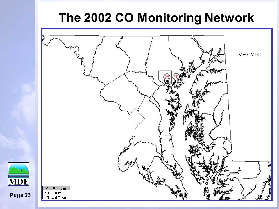 Page 33 The 2002 CO Monitoring Network Map: MDE