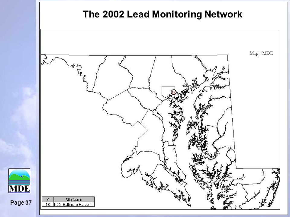 Page 37 The 2002 Lead Monitoring Network Map: MDE