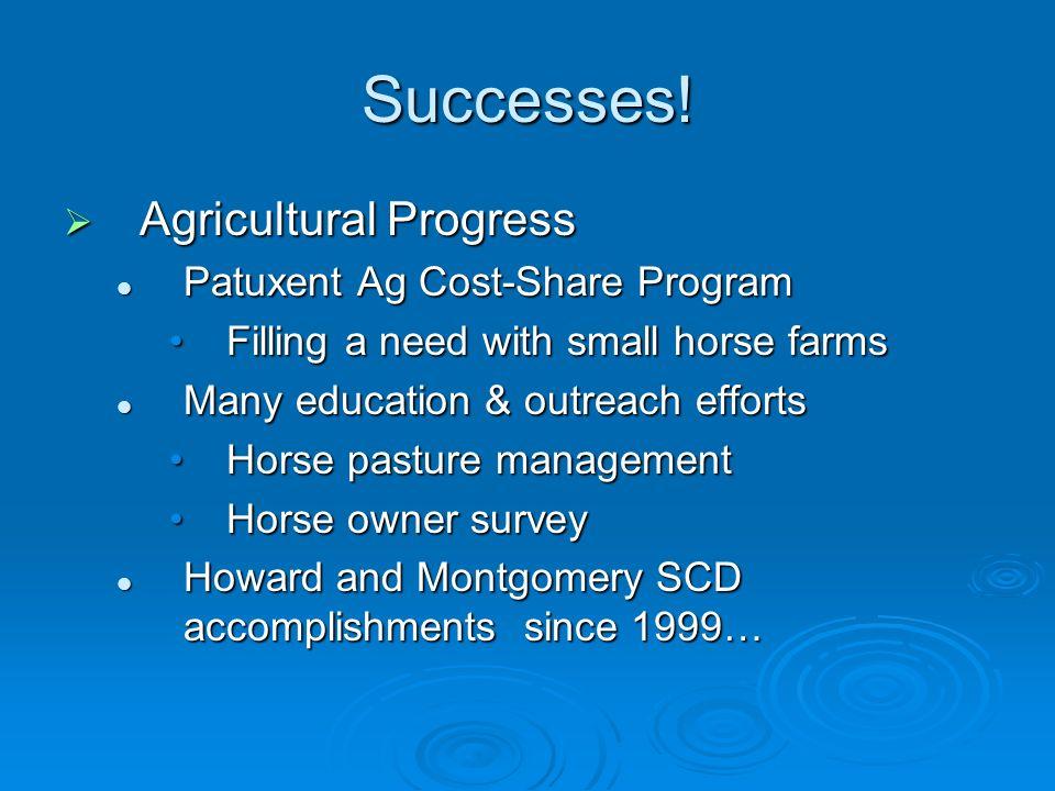 Successes! Agricultural Progress Agricultural Progress Patuxent Ag Cost-Share Program Patuxent Ag Cost-Share Program Filling a need with small horse f
