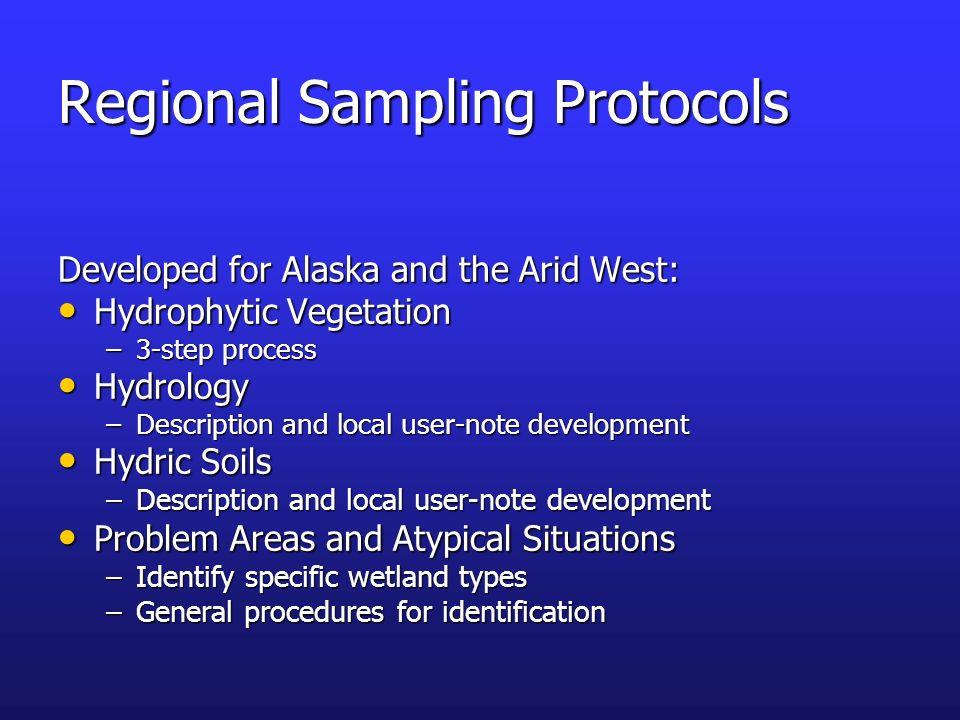 Regional Sampling Protocols Developed for Alaska and the Arid West: Hydrophytic Vegetation Hydrophytic Vegetation –3-step process Hydrology Hydrology
