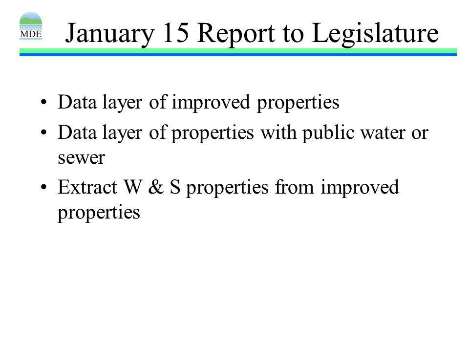 January 15 Report to Legislature Data layer of improved properties Data layer of properties with public water or sewer Extract W & S properties from improved properties
