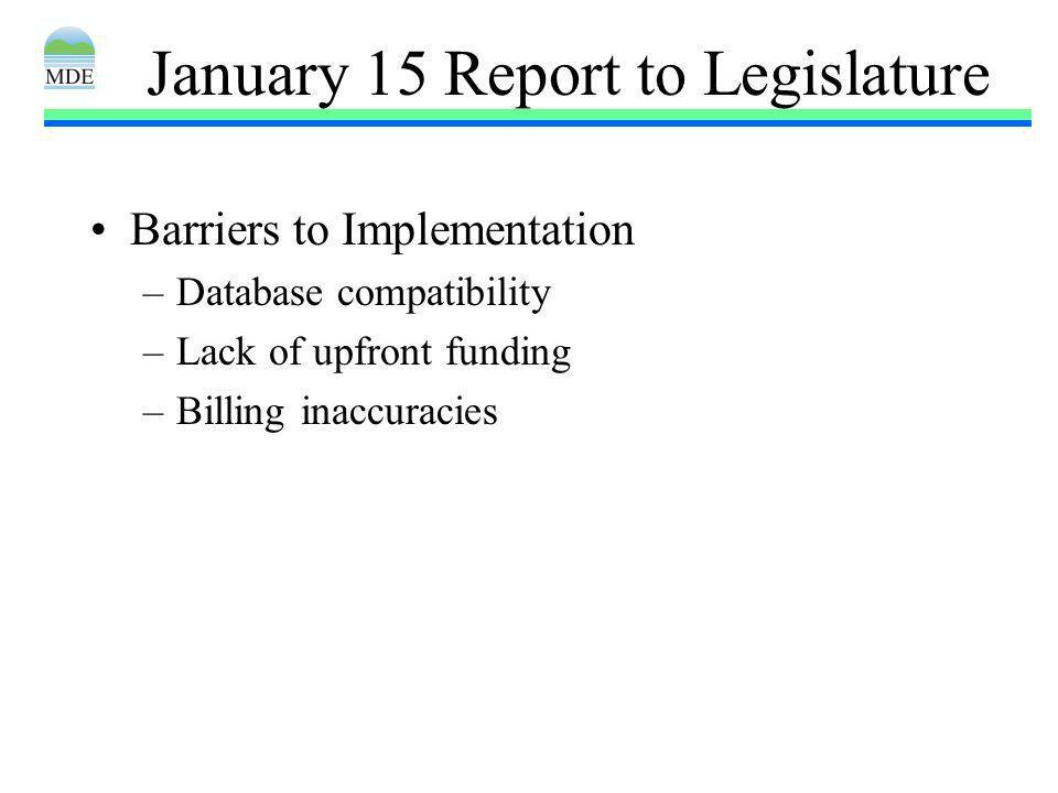 January 15 Report to Legislature Barriers to Implementation –Database compatibility –Lack of upfront funding –Billing inaccuracies