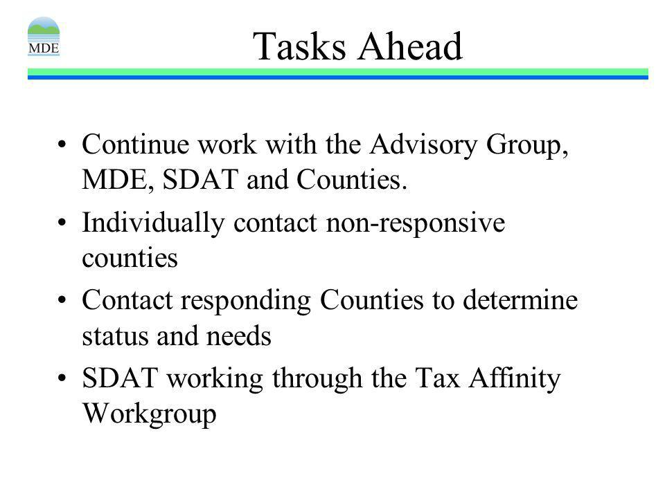 Tasks Ahead Continue work with the Advisory Group, MDE, SDAT and Counties.