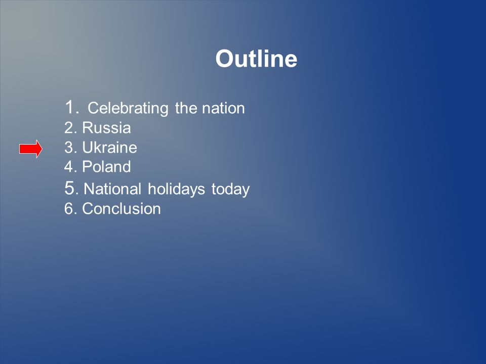 Outline 1.Celebrating the nation 2. Russia 3. Ukraine 4.