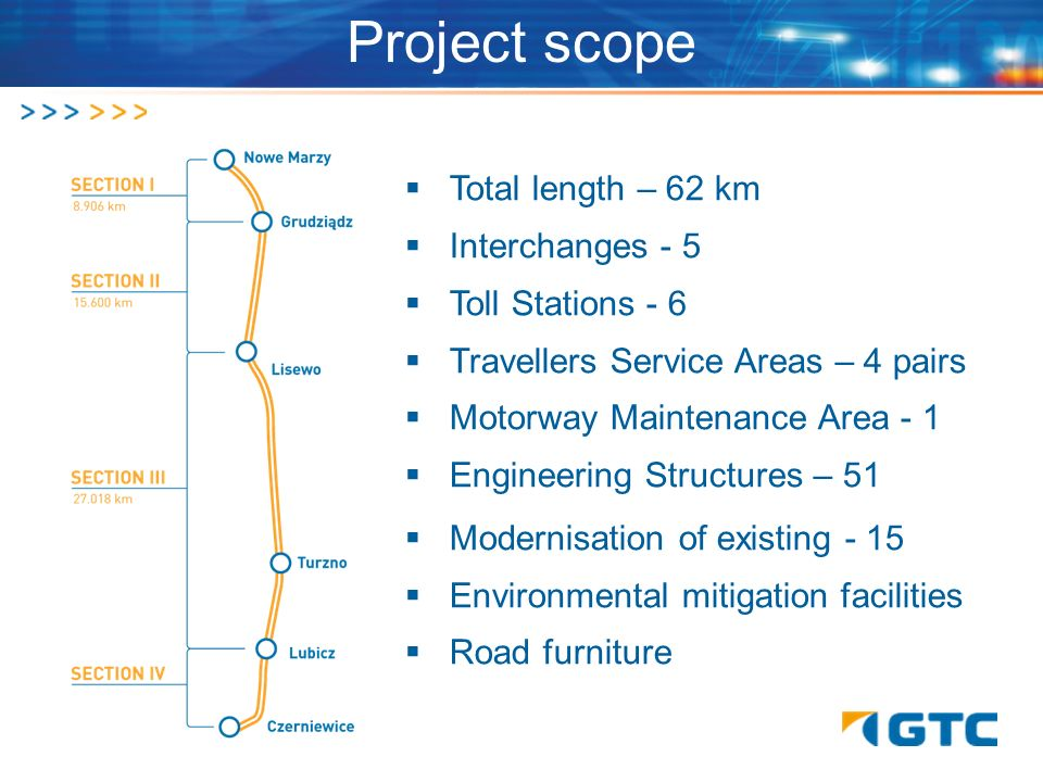 Project scope Total length – 62 km Interchanges - 5 Toll Stations - 6 Travellers Service Areas – 4 pairs Motorway Maintenance Area - 1 Engineering Str