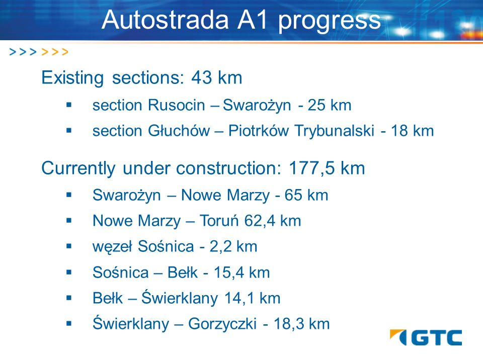 Autostrada A1 progress Existing sections: 43 km section Rusocin – Swarożyn - 25 km section Głuchów – Piotrków Trybunalski - 18 km Currently under cons