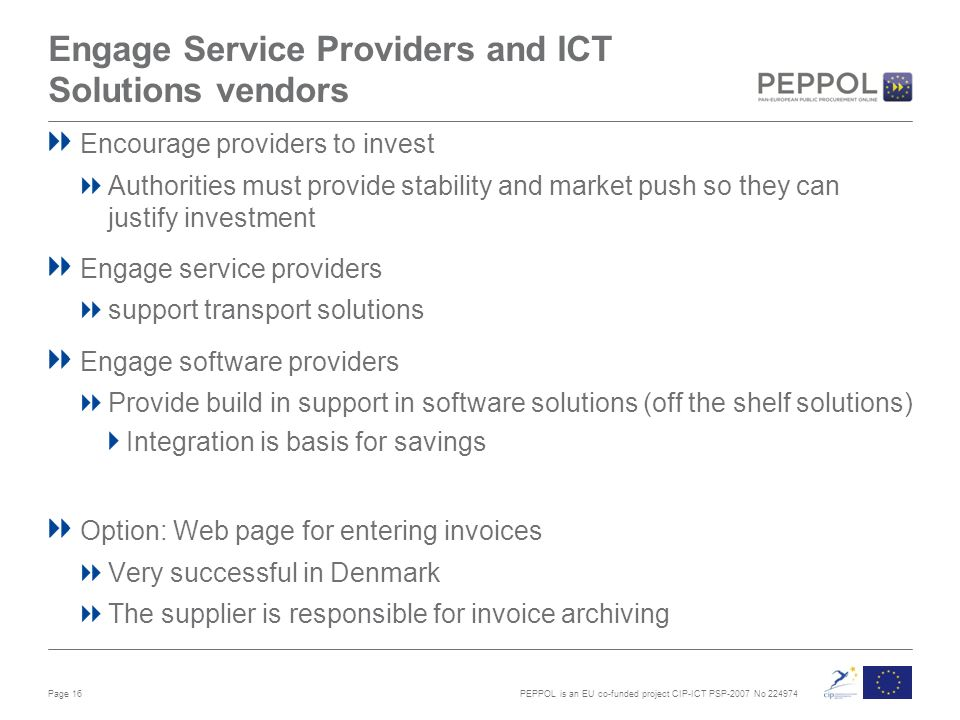 PEPPOL is an EU co-funded project CIP-ICT PSP-2007 No Engage Service Providers and ICT Solutions vendors Encourage providers to invest Authorities must provide stability and market push so they can justify investment Engage service providers support transport solutions Engage software providers Provide build in support in software solutions (off the shelf solutions) Integration is basis for savings Option: Web page for entering invoices Very successful in Denmark The supplier is responsible for invoice archiving Page 16