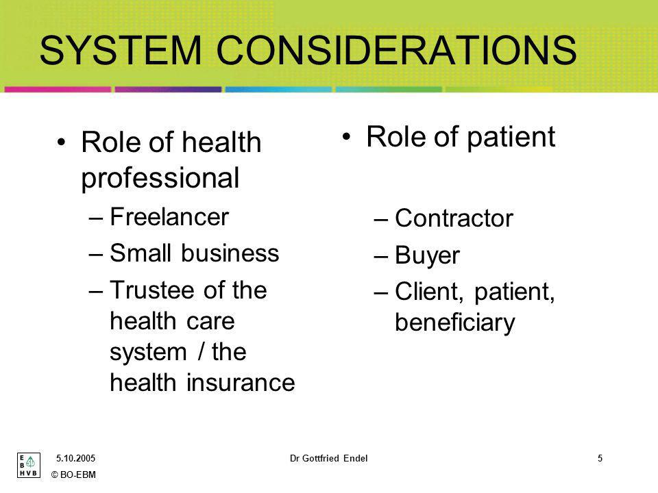 © BO-EBM Dr Gottfried Endel5 SYSTEM CONSIDERATIONS Role of health professional –Freelancer –Small business –Trustee of the health care system / the health insurance Role of patient –Contractor –Buyer –Client, patient, beneficiary