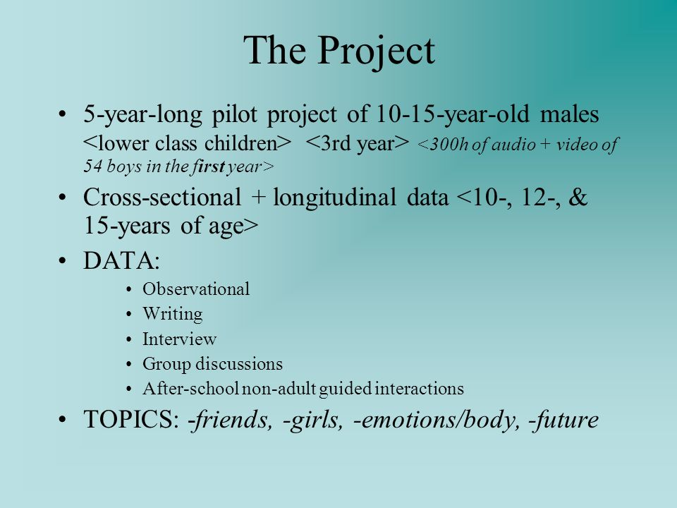 The Project 5-year-long pilot project of year-old males Cross-sectional + longitudinal data DATA: Observational Writing Interview Group discussions After-school non-adult guided interactions TOPICS: -friends, -girls, -emotions/body, -future