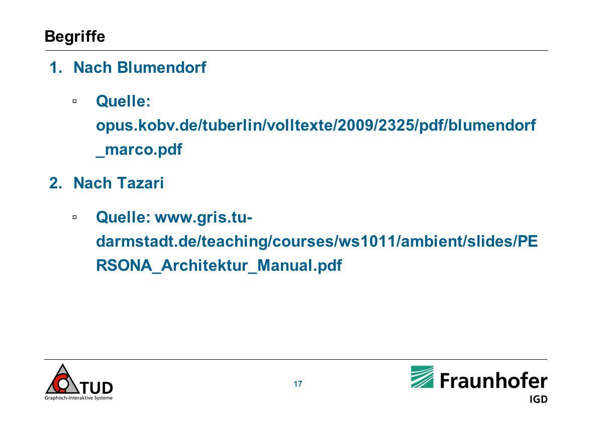 17 Begriffe 1.Nach Blumendorf Quelle: opus.kobv.de/tuberlin/volltexte/2009/2325/pdf/blumendorf _marco.pdf 2.Nach Tazari Quelle: www.gris.tu- darmstadt.de/teaching/courses/ws1011/ambient/slides/PE RSONA_Architektur_Manual.pdf