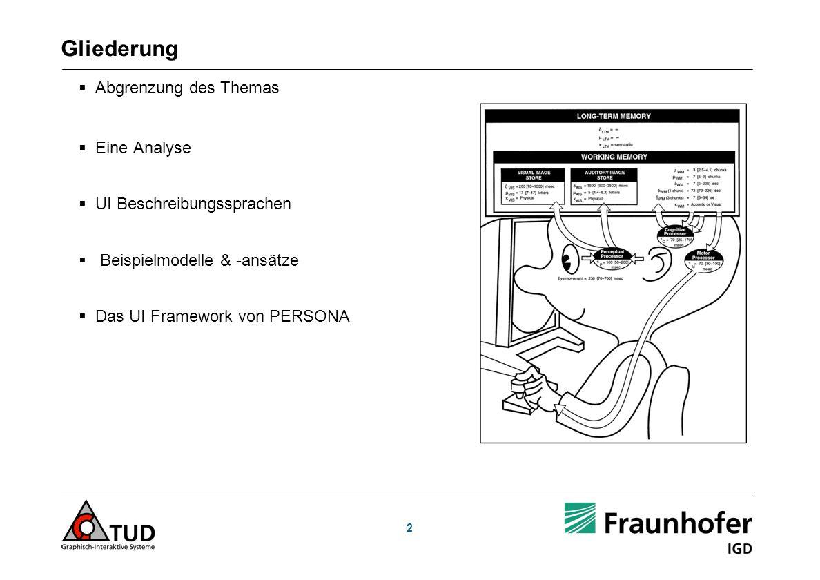 2 Gliederung Abgrenzung des Themas Eine Analyse UI Beschreibungssprachen Beispielmodelle & -ansätze Das UI Framework von PERSONA