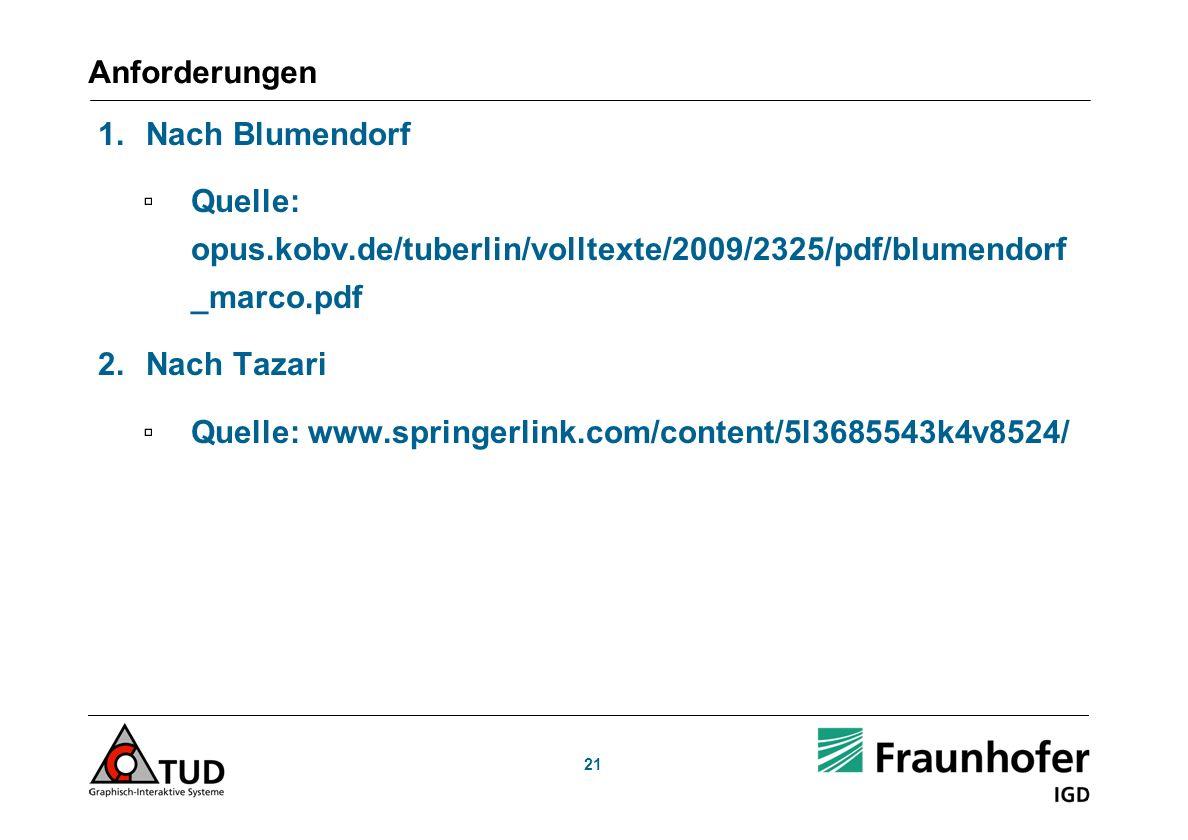 21 Anforderungen 1.Nach Blumendorf Quelle: opus.kobv.de/tuberlin/volltexte/2009/2325/pdf/blumendorf _marco.pdf 2.Nach Tazari Quelle: www.springerlink.