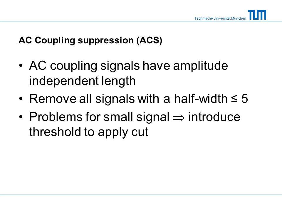 Technische Universität München AC Coupling suppression (ACS) AC coupling signals have amplitude independent length Remove all signals with a half-widt
