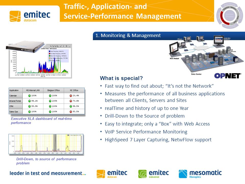 Traffic-, Application- and Service-Performance Management 1. Monitoring & Management What is special? Fast way to find out about; Its not the Network