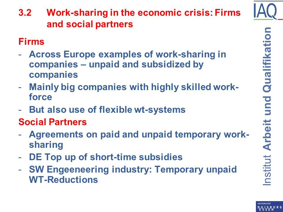 Institut Arbeit und Qualifikation 3.2 Work-sharing in the economic crisis: Firms and social partners Firms -Across Europe examples of work-sharing in companies – unpaid and subsidized by companies -Mainly big companies with highly skilled work- force -But also use of flexible wt-systems Social Partners -Agreements on paid and unpaid temporary work- sharing -DE Top up of short-time subsidies -SW Engeeneering industry: Temporary unpaid WT-Reductions