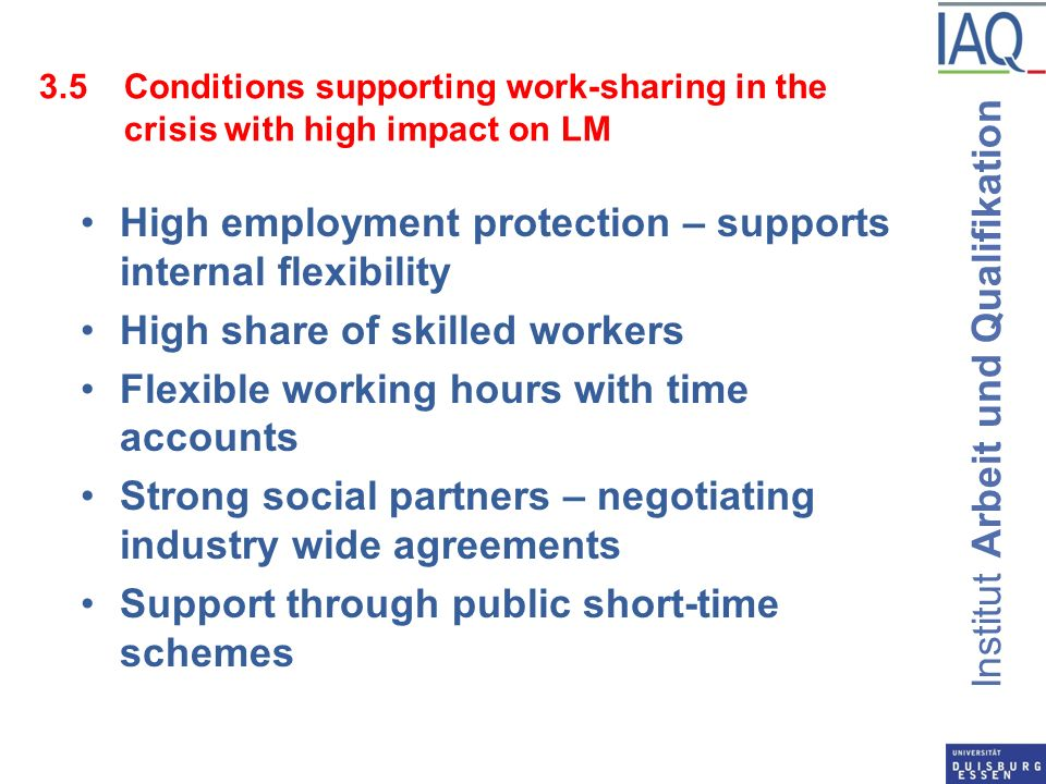 Institut Arbeit und Qualifikation 3.5Conditions supporting work-sharing in the crisis with high impact on LM High employment protection – supports internal flexibility High share of skilled workers Flexible working hours with time accounts Strong social partners – negotiating industry wide agreements Support through public short-time schemes