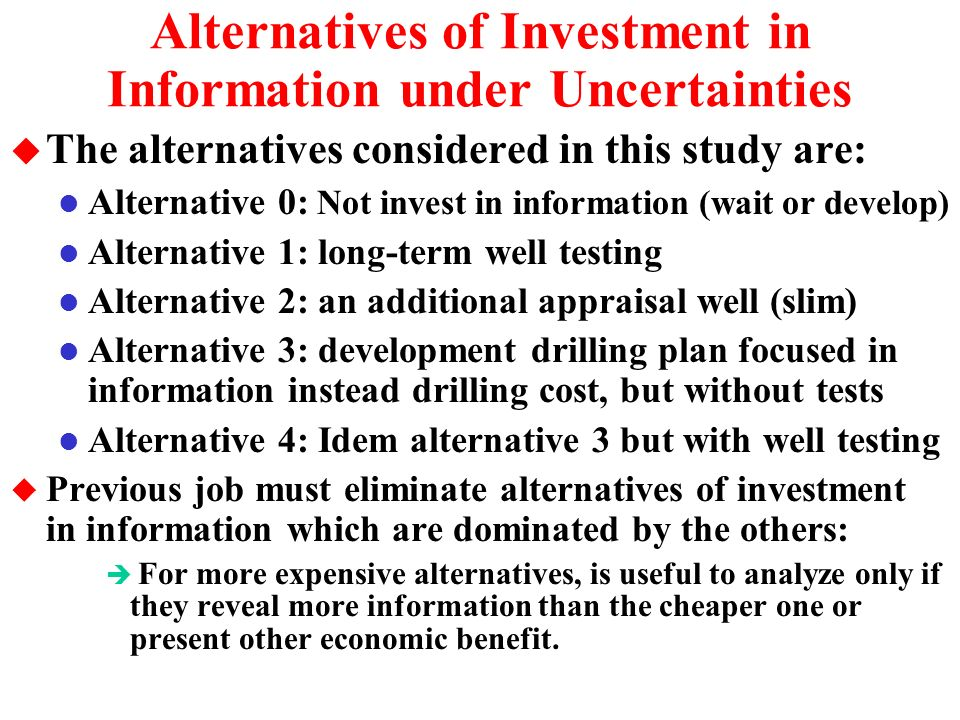 Case Study and the Model Equations u Consider an undeveloped oilfield l The expected reserve size before revelation is estimated in: E[B] = 120 million barrels l By looking the portfolio of projects of a basin we can set a cost function for the development investment D = Fixed Cost + Variable Cost x B FC = 240, VC = 2 D = x 120 = US$ 480 million u We can set a linear equation for the net present value (NPV) as function of the price and the reserve size B NPV = V D = q P B D l q = economic quality of the developed reserve, with expected value of E[q] = 20% l P is the current oil price (P 0 = 20 $/boe) and is the current source of market uncertainty.