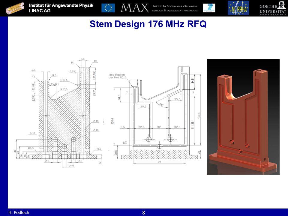 Institut für Angewandte Physik LINAC AG H. Podlech 8 Stem Design 176 MHz RFQ