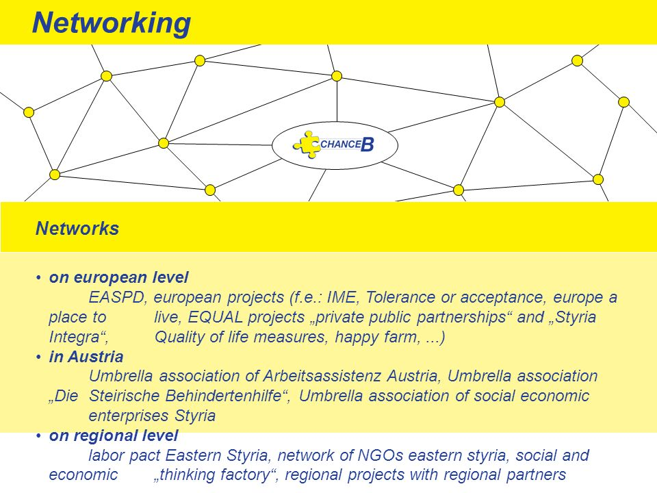 Networks on european level EASPD, european projects (f.e.: IME, Tolerance or acceptance, europe a place to live, EQUAL projects private public partner