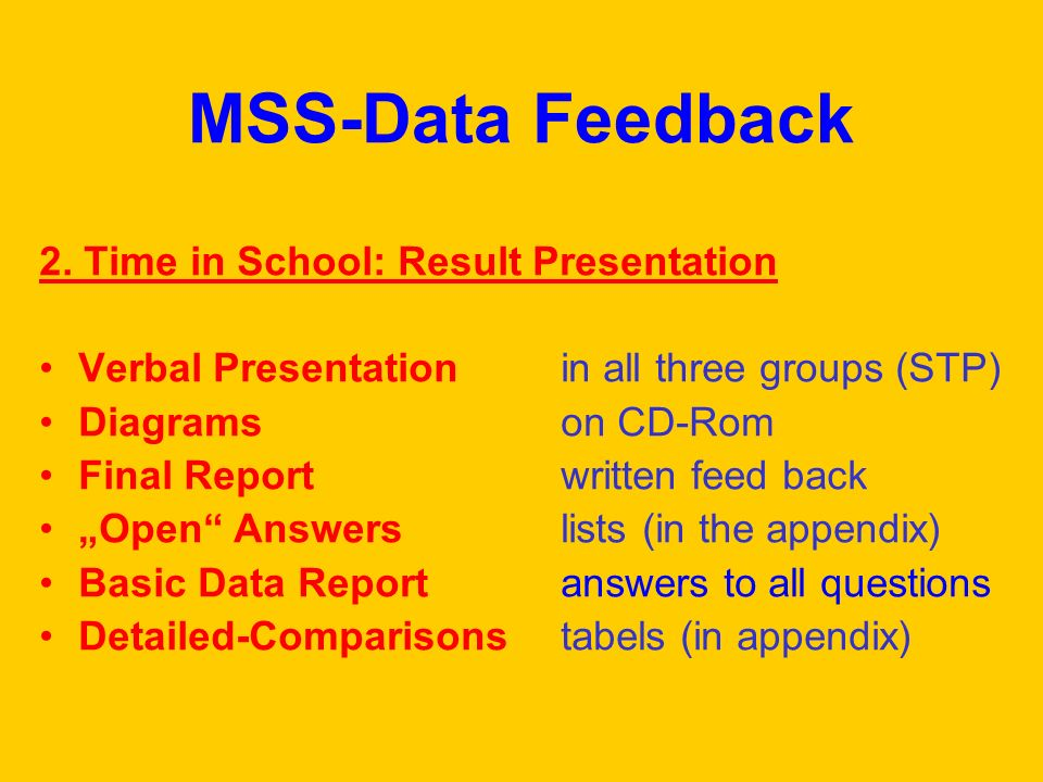 MSS-Data Feedback 2. Time in School: Result Presentation Verbal Presentation in all three groups (STP) Diagrams on CD-Rom Final Report written feed ba