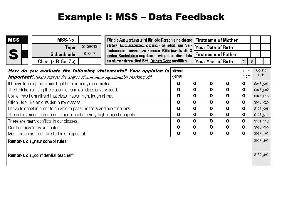 Example I: MSS – Data Feedback