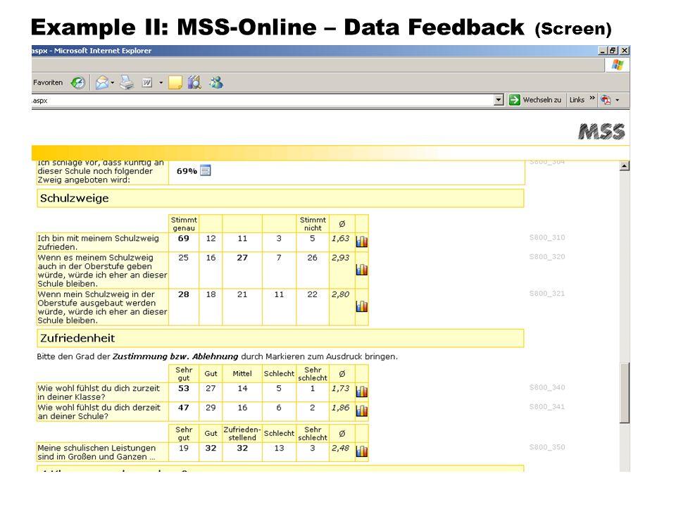 Example II: MSS-Online – Data Feedback (Screen)