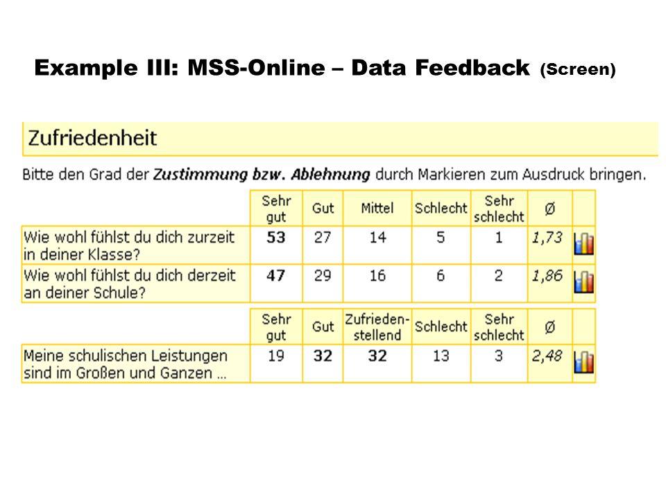Example III: MSS-Online – Data Feedback (Screen)