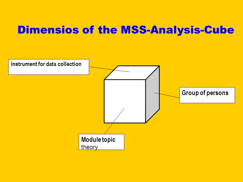 Group of persons Module topic theory Instrument for data collection Dimensios of the MSS-Analysis-Cube