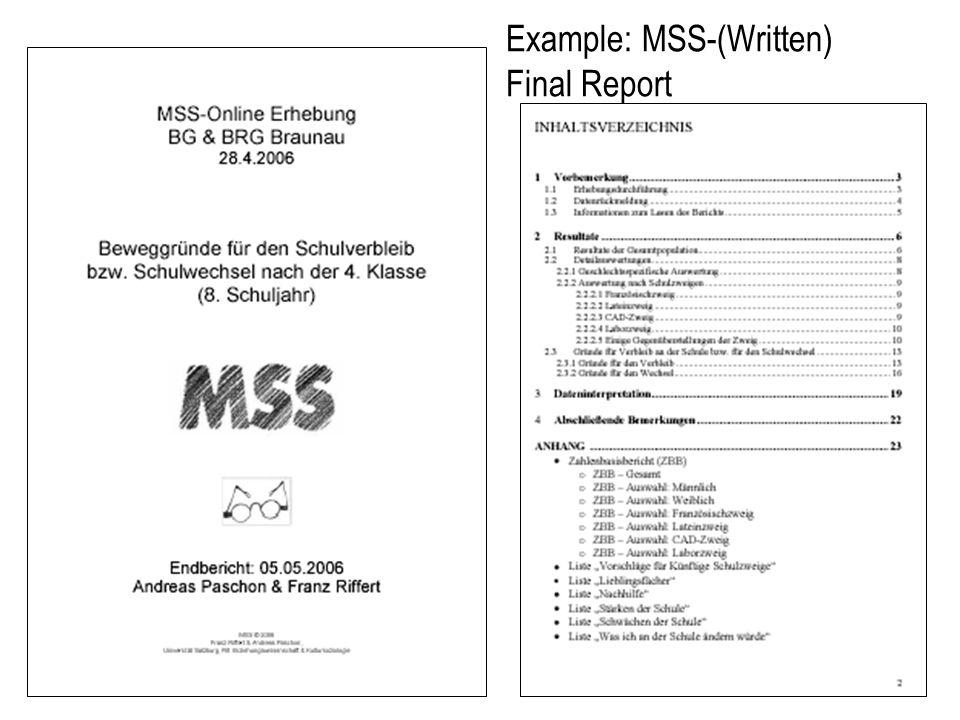 Example: MSS-(Written) Final Report