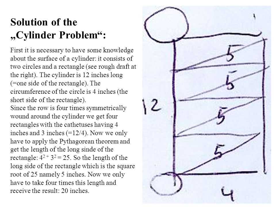 Solution of the Cylinder Problem: First it is necessary to have some knowledge about the surface of a cylinder: it consists of two circles and a rectangle (see rough draft at the right).