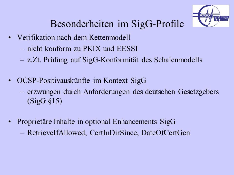 Besonderheiten im SigG-Profile Verifikation nach dem Kettenmodell –nicht konform zu PKIX und EESSI –z.Zt. Prüfung auf SigG-Konformität des Schalenmode