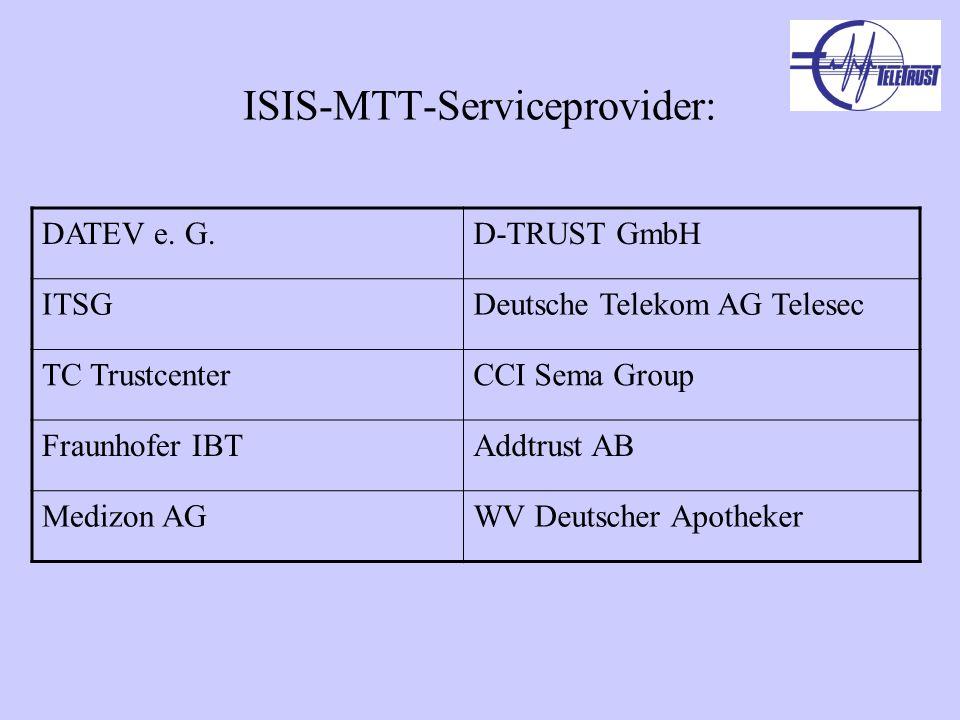 ISIS-MTT-Serviceprovider: DATEV e. G.D-TRUST GmbH ITSGDeutsche Telekom AG Telesec TC TrustcenterCCI Sema Group Fraunhofer IBTAddtrust AB Medizon AGWV
