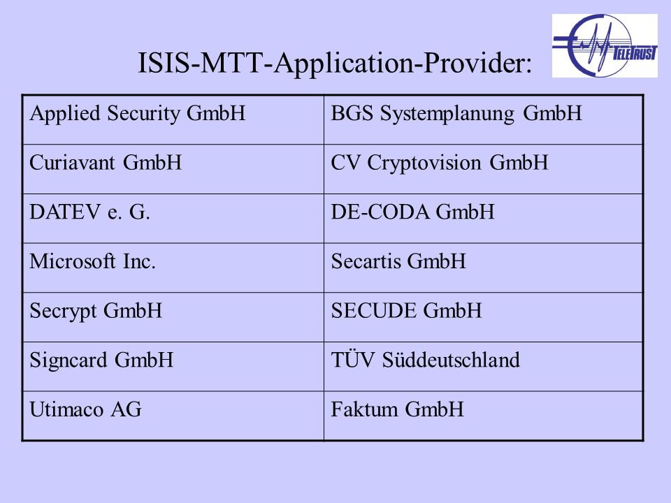 ISIS-MTT-Application-Provider: Applied Security GmbHBGS Systemplanung GmbH Curiavant GmbHCV Cryptovision GmbH DATEV e.
