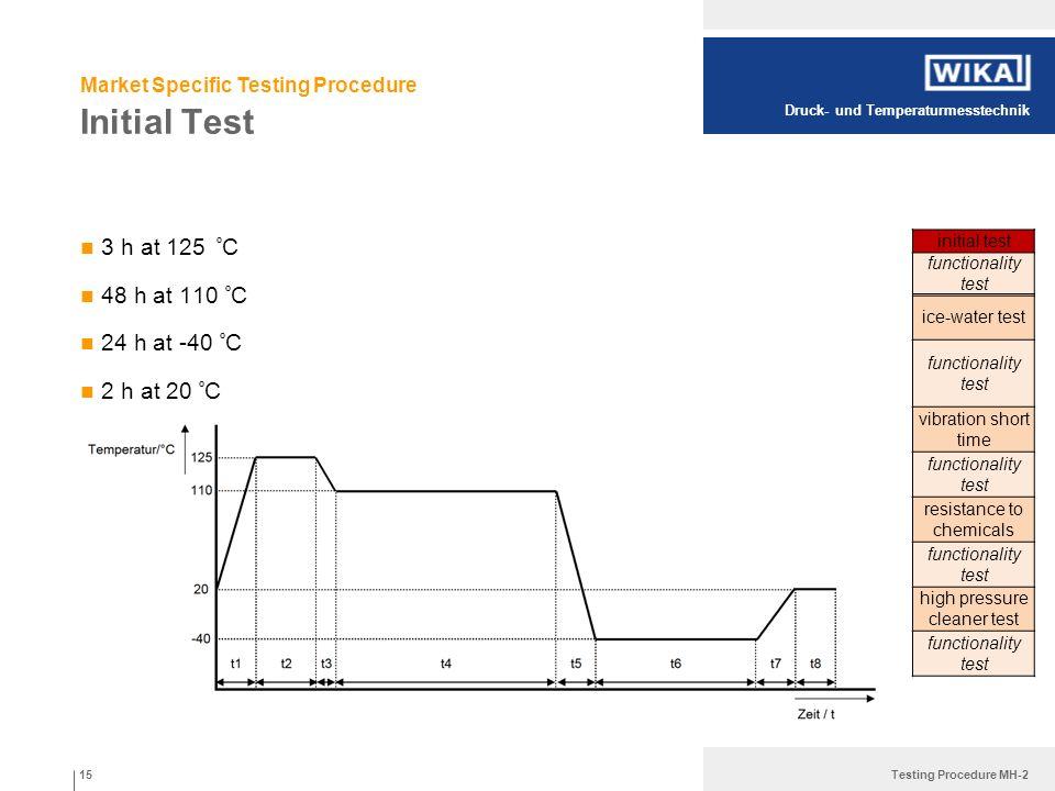 Druck- und Temperaturmesstechnik Testing Procedure MH-2 Initial Test 3 h at 125 º C 48 h at 110 º C 24 h at -40 º C 2 h at 20 º C 15 initial test func
