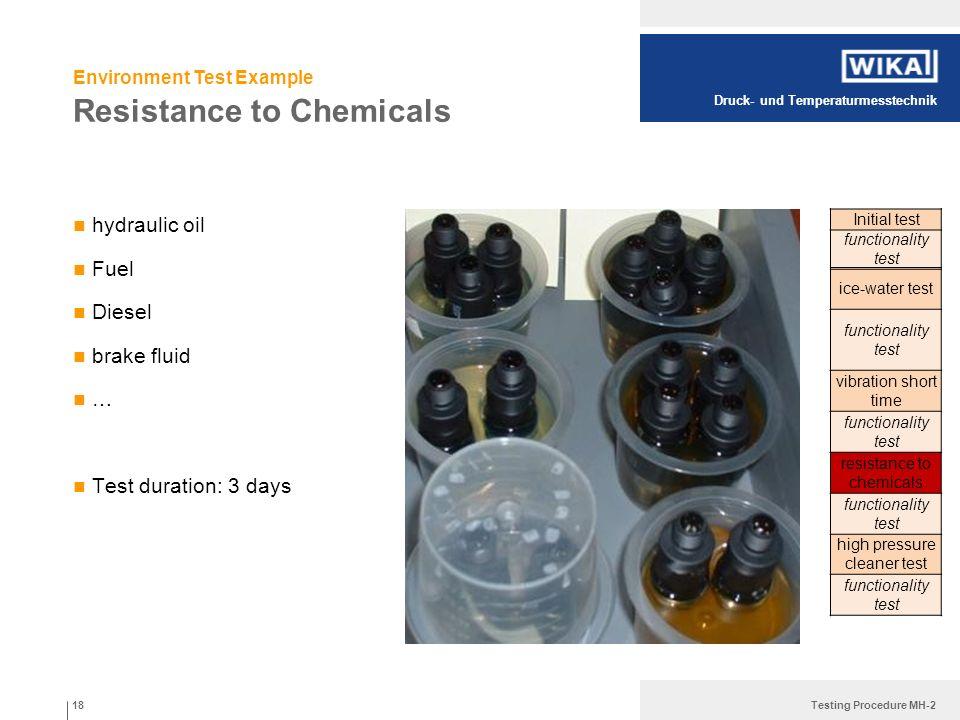 Druck- und Temperaturmesstechnik Testing Procedure MH-2 Resistance to Chemicals hydraulic oil Fuel Diesel brake fluid … Test duration: 3 days 18 Initi