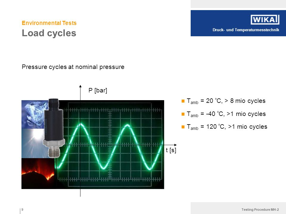 Druck- und Temperaturmesstechnik Testing Procedure MH-2 Load cycles Pressure cycles at nominal pressure 9 P [bar] t [s] T amb = 20 º C, > 8 mio cycles
