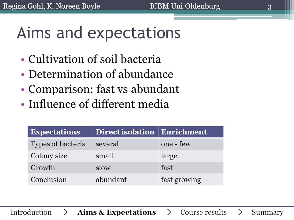 Aims and expectations Cultivation of soil bacteria Determination of abundance Comparison: fast vs abundant Influence of different media Introduction A