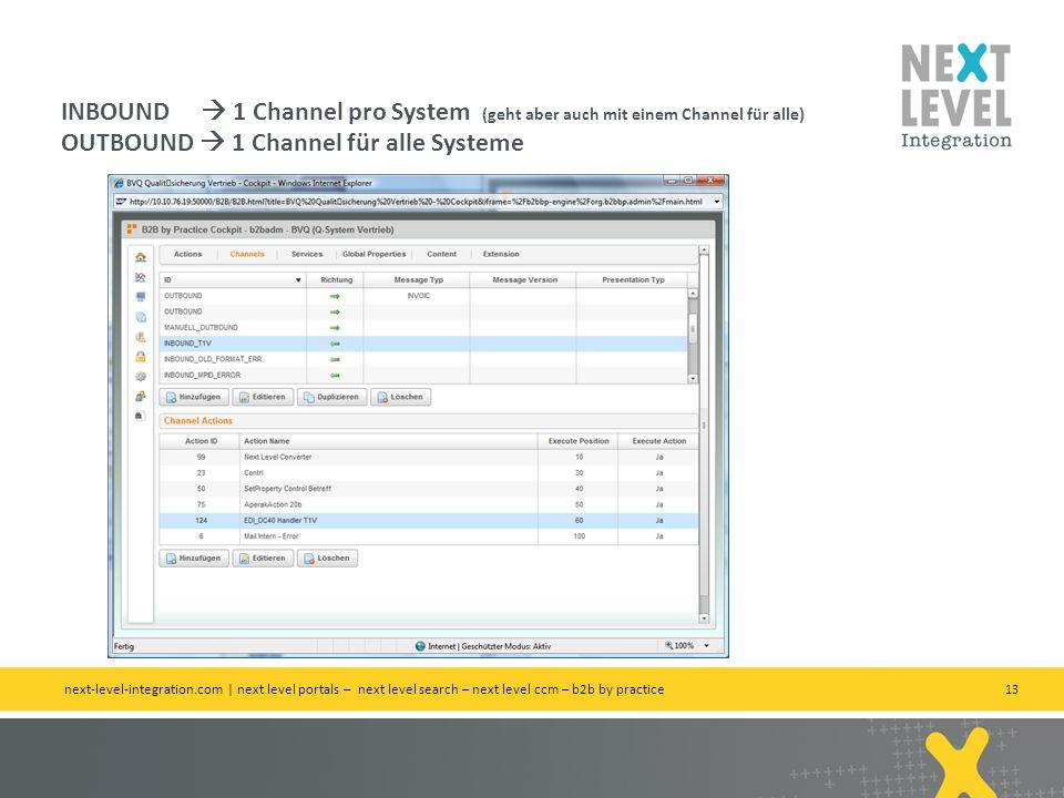 13 INBOUND 1 Channel pro System (geht aber auch mit einem Channel für alle) OUTBOUND 1 Channel für alle Systeme next-level-integration.com | next level portals – next level search – next level ccm – b2b by practice