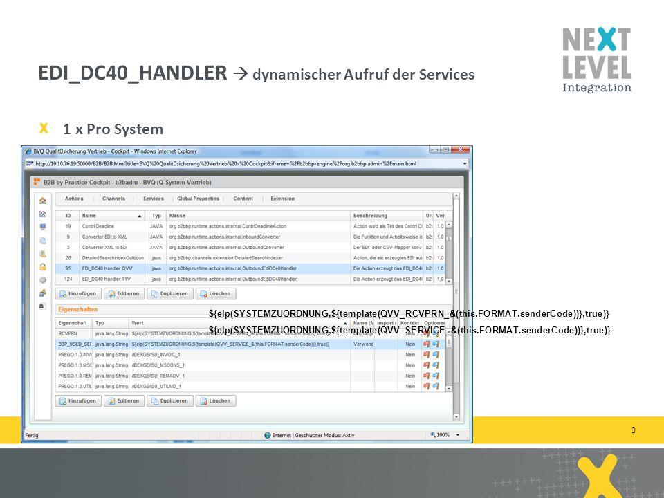 3 1 x Pro System EDI_DC40_HANDLER dynamischer Aufruf der Services next-level-integration.com | next level portals – next level search – next level ccm – b2b by practice ${elp(SYSTEMZUORDNUNG,${template(QVV_RCVPRN_&(this.FORMAT.senderCode))},true)} ${elp(SYSTEMZUORDNUNG,${template(QVV_SERVICE_&(this.FORMAT.senderCode))},true)}