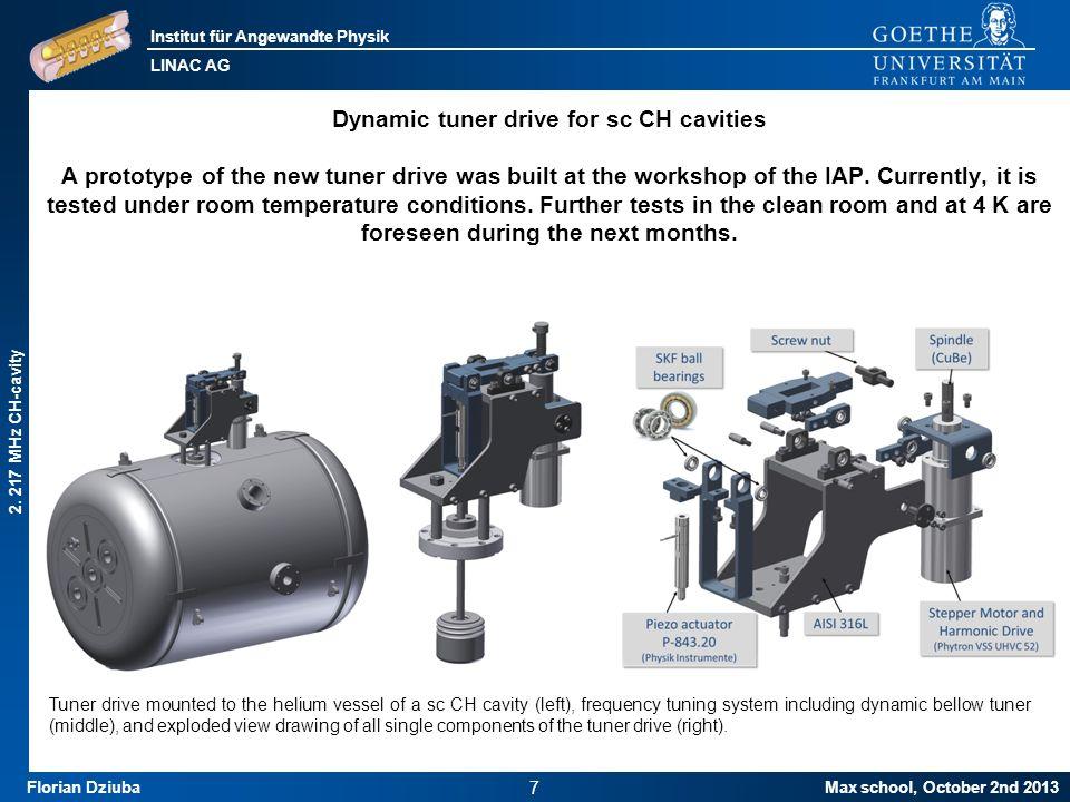 Institut für Angewandte Physik LINAC AG Max school, October 2nd 2013 8 Florian Dziuba Status of fabrication: Bellow tuner 2.