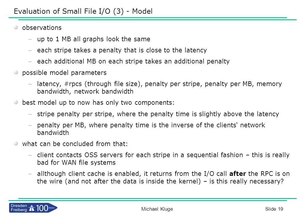 Slide 19 Evaluation of Small File I/O (3) - Model observations – up to 1 MB all graphs look the same – each stripe takes a penalty that is close to th