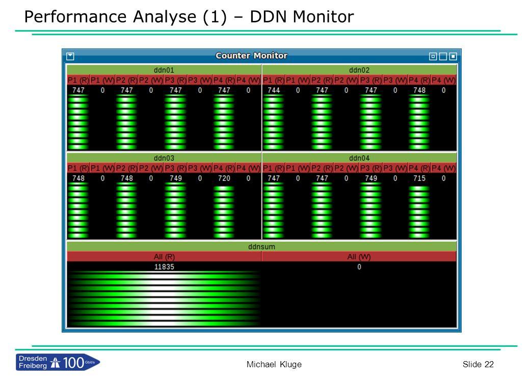 Slide 22 Performance Analyse (1) – DDN Monitor Michael Kluge