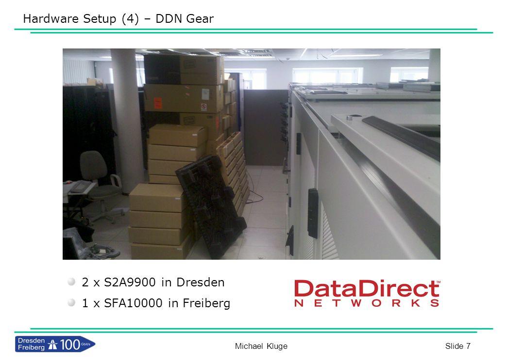 Slide 28 Resultat IOR Unidirektional 16*8 Gbit/s 16*20 Gbit/s DDR IB 5*40 Gbit/s QDR IB 16*8 Gbit/s 100GbE Reading from Dresden 11,8 GB/s Michael Kluge