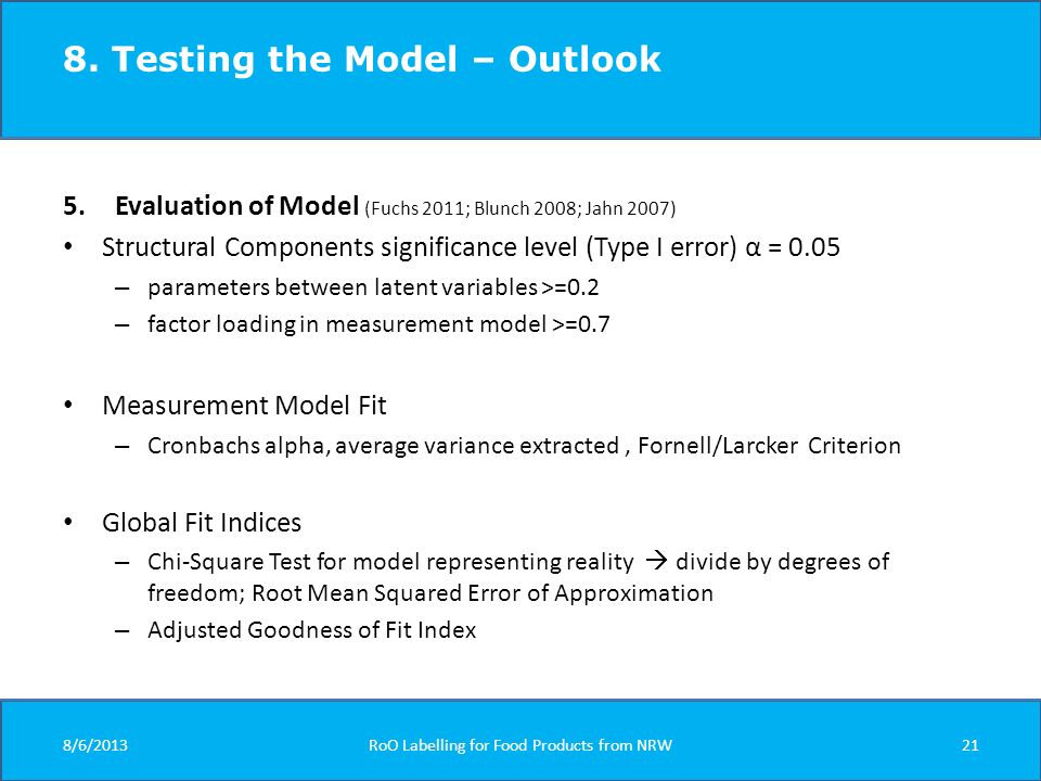 8. Testing the Model – Outlook 5.Evaluation of Model (Fuchs 2011; Blunch 2008; Jahn 2007) Structural Components significance level (Type I error) α =