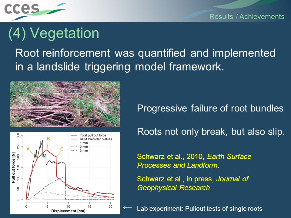 Root reinforcement was quantified and implemented in a landslide triggering model framework. Results / Achievements (4) Vegetation Lab experiment: Pul