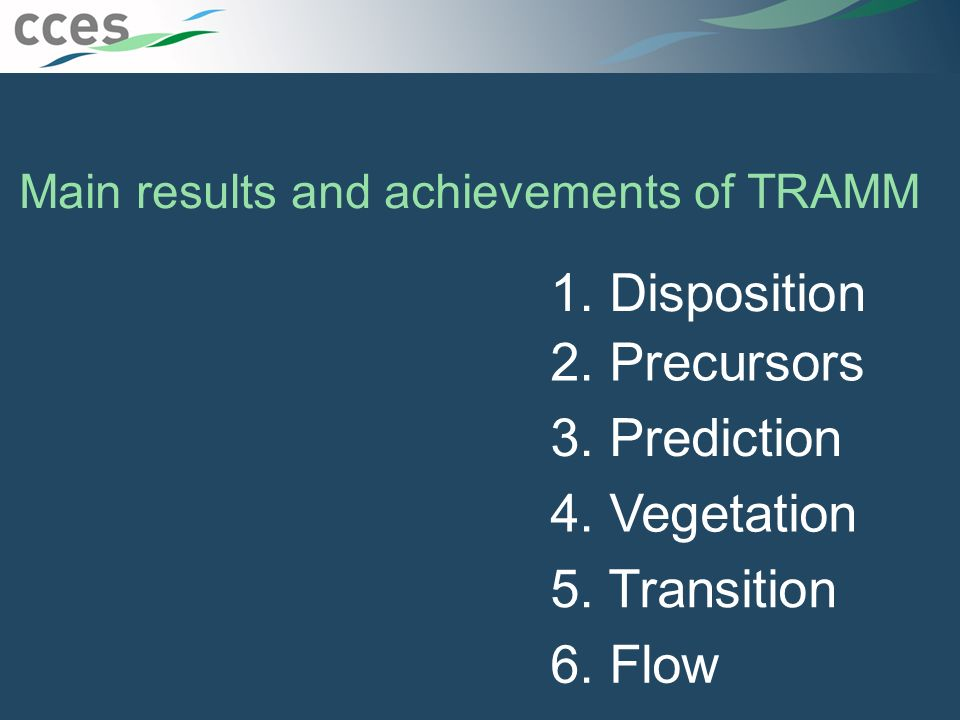Main results and achievements of TRAMM 1. Disposition 2.